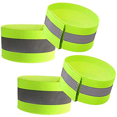 MIS1950s 4Pcs Night Running Cycling Elastic Reflective Arm Band Belt Strap for Outdoor Sports,Safe Accessory (Green)