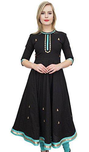 Bimba Diseñador de Las Mujeres abocardada Anarkali Vestido étnico Negro Kurta Kurti...