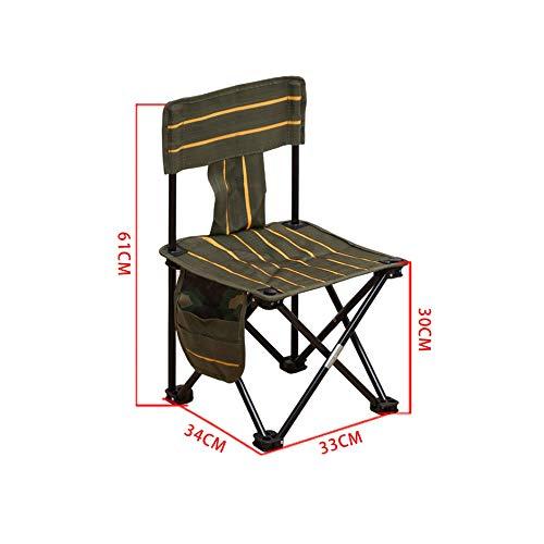 BFQY FH Chaise De Pêche Pliable, Chaise De Loisirs Extérieure Multifonctionnelle Portative Camping Barbecue, Petit Tabouret Auto-pilotant, 2 Tailles, Vert Foncé (Taille : 34 × 33 × 61cm)