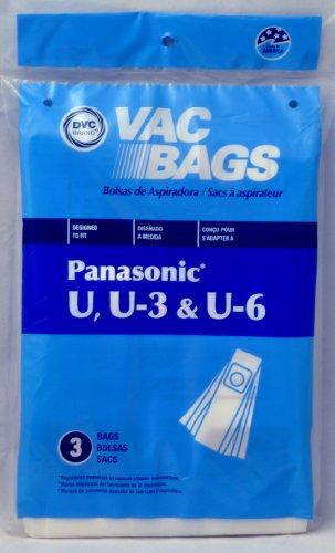 Panasonic DVC-Ersatz-Staubsaugerbeutel, passend für Panasonic Typ U & U-3, 3 Stück
