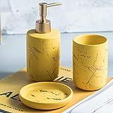 LLHH Marmol Set de Bano Accesorios Juego bafio Accesorios Ceramica Set,Juego de 4 Compuesto por dispensador de jabón,Porta Cepillo de Dientes,Accesorios de baño para el Lavabo.