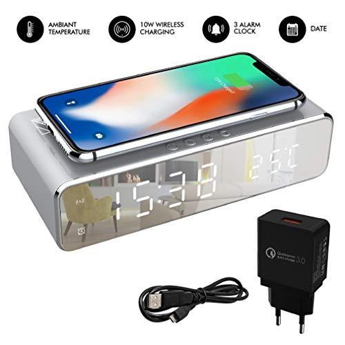 bon comparatif Réveil numérique avec chargeur inductif Qi sans fil.  Une horloge avec un affichage numérique lumineux… un avis de 2021