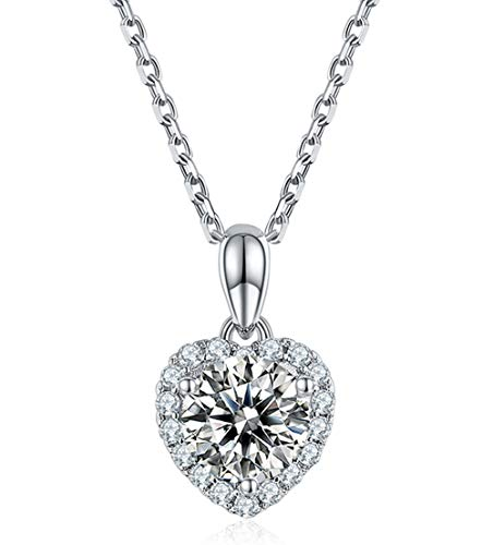 SecreTalk Heart Moissanite Pendant Necklace 2CT 18K White Gold Plated Silver D...
