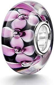 Materia 925 plata ideal para objetos de cristal de Murano Bead flores Element - cuentas de cristal Murano Beads negro rosa #971