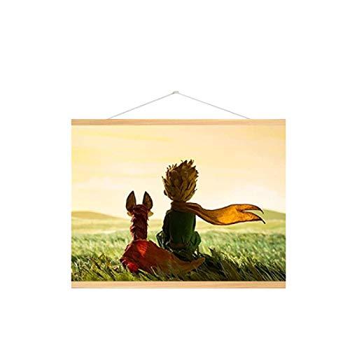 Lomoko Póster e Impresiones de Cuento de Hadas del Principito y el Zorro Cuadro de Pintura de Arte de Pared para habitación de niños para decoración de habitación Infantil -50x70CM con Marco