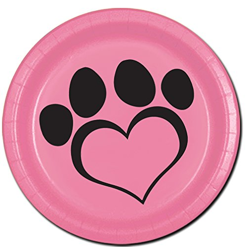 Partypro Dog Love Pink Dessert Plate(8/PKG)