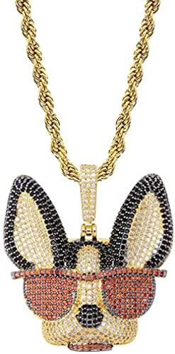 Collar Hip hop - Cachorro - Personaje - Lindo Cub tachonado de circonita cúbica con gafas de sol - Accesorios (Oro) Collar de regalo para hombres
