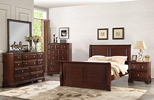 Bedroom Set Featuring French Style Sleigh Platform Bed and Matching Case Goods