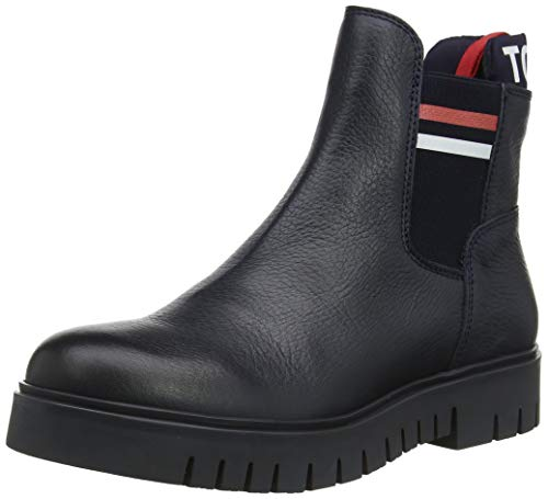 Tommy Hilfiger Damen Padded Tongue Tommy Chelsea Boot Stiefeletten, Blau (Midnight Cki), 42 EU