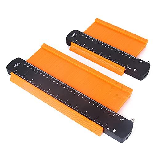 FPWW 2 Paquete de indicador de Contorno con Bloqueo, Herramienta de Perfil duplicador de Forma de Ancho, para Esquinas, Plantillas de carpintería, Azulejos y Laminado