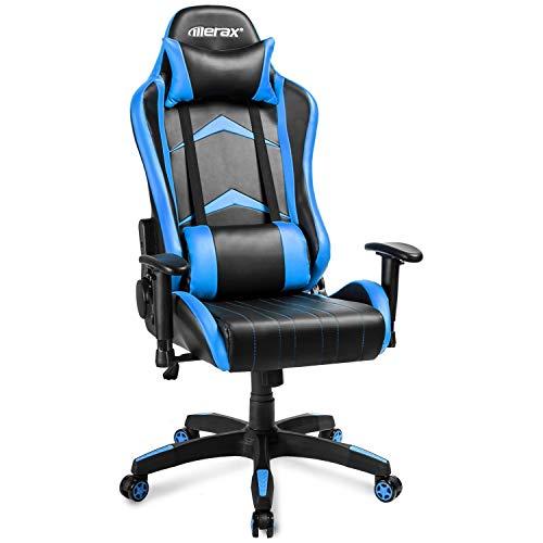 PovKeever Gaming-/Schreibtisch-/Büro Stuhl, Racing Stuhl für PC/PS4/XBOX/Nintendo Kunstleder Gaming Chair mit verstellbar Armlehne,Kopfstütze Belastbar bis 150kg (blau)