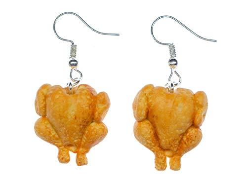Miniblings pollos de engorde de pavos pendientes de gancho para la oreja percha de pollo pollo de Brown - Me plata joyería de los pendientes pendientes de la manera hecha a mano