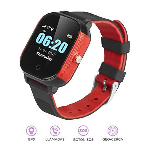 BINDEN Smartwatch Rastreador GPS FA23 Resistente el Agua IP67, Ideal para Niña o Niño, Seguimiento Minuto a Minuto con Geocerca y SOS, App Disponible para iOS y Android (Rojo)