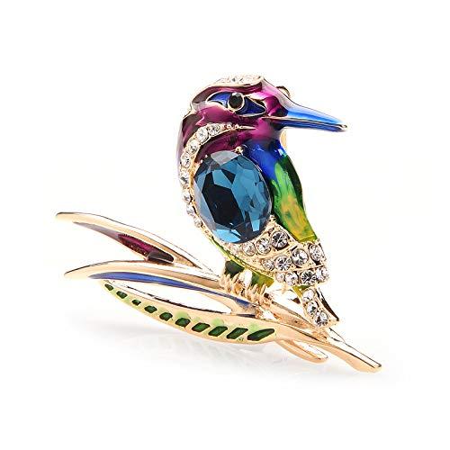 WANGGW Broche para Mujer Cristal Azul Púrpura Y Verde Esmalte Broches De...