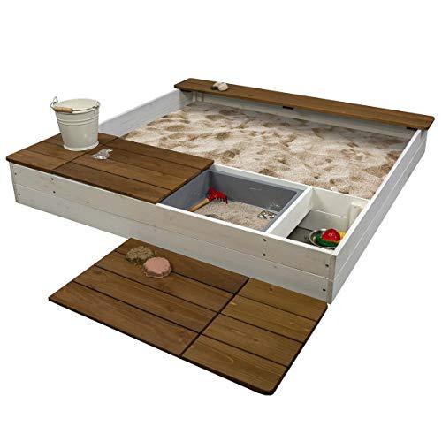Meppi Sandkasten Laboe Weiss / braun - Sandkiste aus Holz - Sandbox