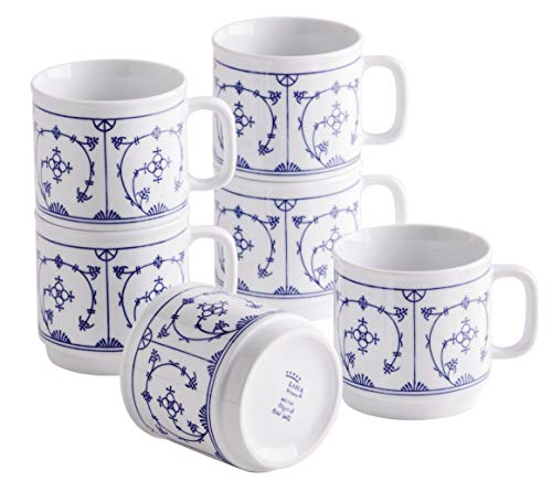Kahla 480265A75019H Blau Saks blauweiß Becherset für 6 Personen Kaffeebecher Set 6-teilig 300 ml Henkelbecher Porzellanbecher Set Tee Kakao Tassen