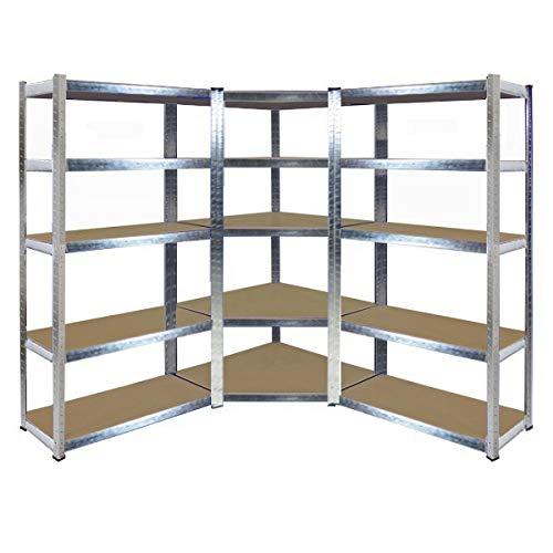 Kit de estantería de esquina galvanizada de alta resistencia, 1800 mm de alto x 900 mm de ancho, 698 mm de ancho, 400 mm de profundidad, 175 kg de UDL con 2 estantes de almacenamiento gratis