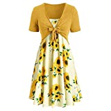 Handyulong Summer Dresses for Women Outfits Two Piece Fashion Bowknot Bandage Top Sunflower Plus Size Summer Dresses