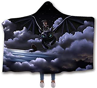MUMULA How to tr-ain Your Dragon Too-thless Dragon 38 Hooded Throw Blanket Soft Cloak Wearable Hooded Blanket for Adult and Kids