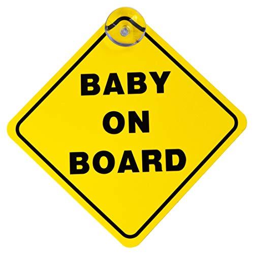Baby on Board Auto-Schild Autoaufkleber für Babys und in der Schwangerschaft - Schild mit Saugnapf-Befestigung, PVC, 125 x 125 mm (Gelb)
