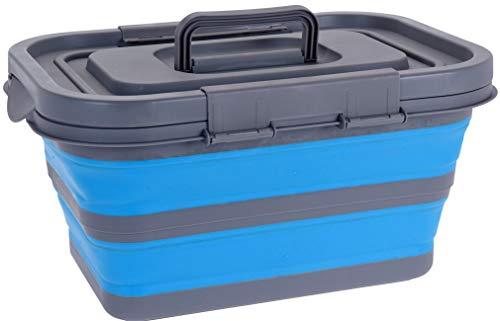 Korb mit Deckel - Klappbar - Camping Korb Einkaufskorb Waschzuber Spülschüssel blau