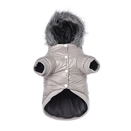 Namsan Pet Puppy Dog wasserfeste Kleidung und Winddichte Kapuzen Winter warme Kleidung Mantel Outwear -Grau -Kleine