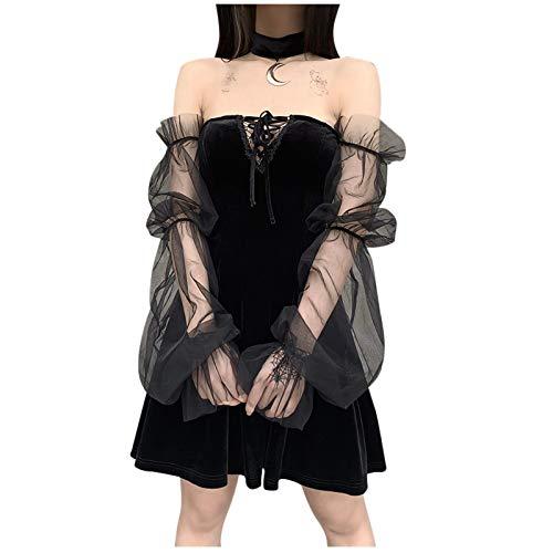 Women's Vintage Gothic Dress Mesh Sleeve Cold Shoulder Punk Swing Cocktail Dress Lace up Corset Bustier Prom Black