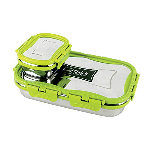 Cello Click It Stainless Steel Lunch Pack for Office & School Use (Veg Box Included Green)