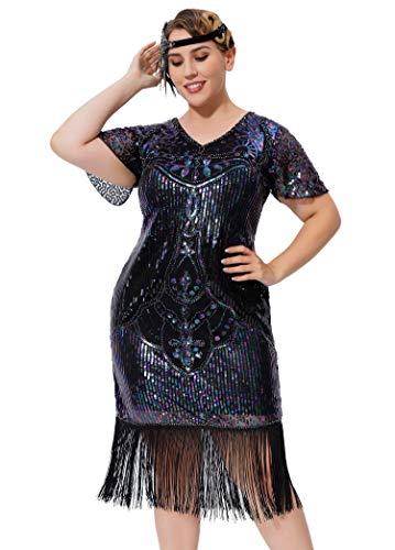 Geplaimir 20er Jahre Kleider Damen Flapper Dress Charleston Kleider V Ausschnitt The Great Gatsby Motto Party Fasching Karneval Kostüm Schwarz Mit Bunten Pailletten Große Größen 009B4XL