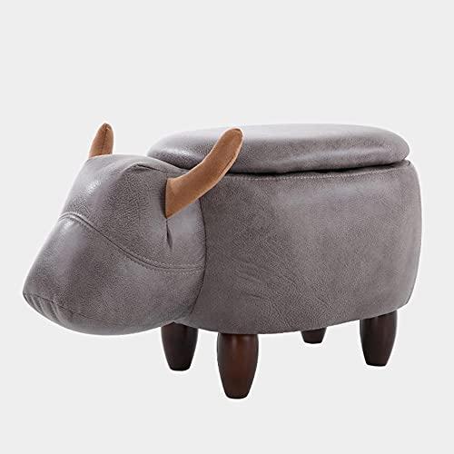 KJHGK Publicidad De Animales, CojíN Acolchado Cambio De Zapatos Banco con Almacenamiento Y 4 Patas De Madera, NiñOs Y Adultos Dibujos Animados Pouffe Ottoman (Toro)-Gris