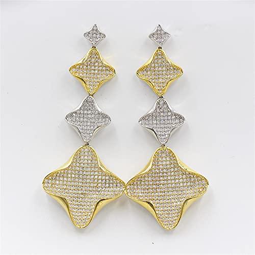 ACEACE Pendientes Colgantes de Oro, aretes de joyería de Borla de Oro Rosa, Fiesta de Bodas for Damas Elegantes y Hermosos Accesorios (Metal Color : 2)