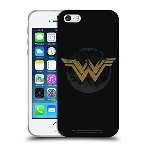 Head Case Designs Licenza Ufficiale Wonder Woman Movie Aspetto Sdrucito Logo Cover in Morbido Gel Compatibile con Apple iPhone 5 / iPhone 5s / iPhone SE 2016
