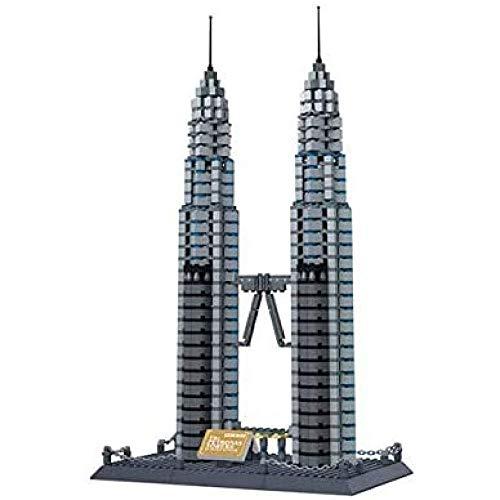 HengYue Rompecabezas De Bloques De Construcción 3D Modelo De Partículas Pequeñas para Torres Gemelas Petronas Kit De Construcción De Ladrillos Regalos para El Día De Los Niños
