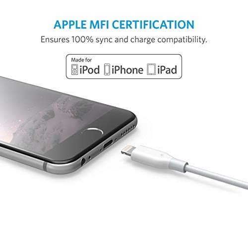 Anker PowerLine 10ft Lightning Cable, MFi Certified for iPhone XS / XS Max / XR / X / 8 / 8 Plus / 7 / 7 Plus / 6 /6 Plus / 5s / iPad, and More (White)