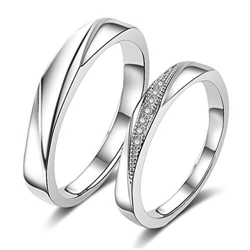 Richapex Anillos de Cubic Zirconia Brilliante Plata y Ley 925 Compromiso Casado Anillo Mujeres Hombres Anillos de Pareja, Regalo para Novios