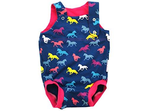 Kleine koningen baby romper meisje zomer baby body · model paarden Horses glitter roze · Ökotex 100 gecertificeerd · maten 50-92