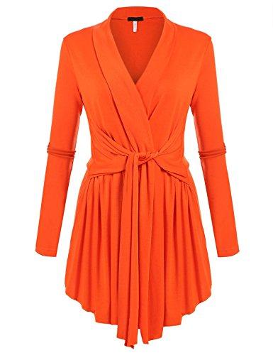 ACEVOG Women's Drape Cardigan Loose Casual Long Sleeved Open Front Cardigans Basic Irregular Hem Solid Dusters Lightweight Sweater with Tie Orange