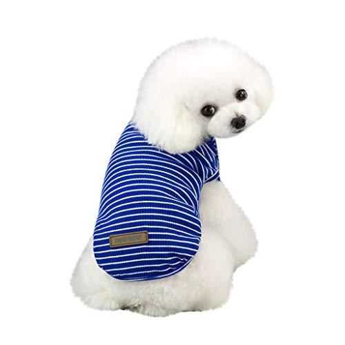 Brizz Strepen, kleine dieren, katoenen poloshirt voor kleine honden, kat, schattig, zacht, comfortabel, voor in de zomer, Medium, blauw