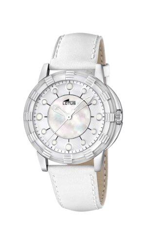 Lotus 15747/1 - Reloj analógico de Cuarzo para Mujer, Correa de Cuero Color Blanco (Agujas luminiscentes)