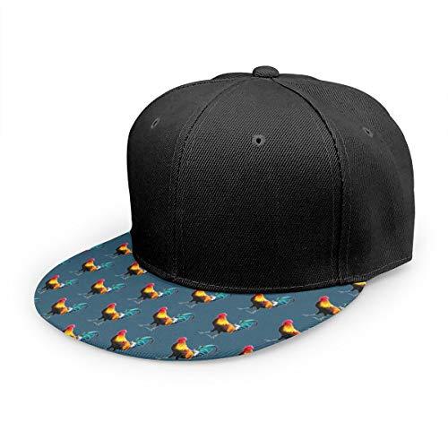 Gorra de béisbol Gallo Cool Cock Unisex Impresión 3D Snapback Tapas Ajustable Sombrero Trucker Sombreros Negro