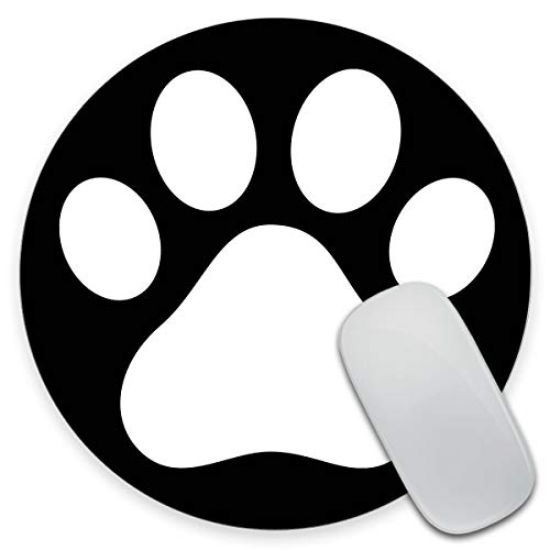Amcove Round Mouse pad Unique Design Mouse Pad White Dog Paw Footprint Icon Isolated On Black Background Design Gaming Mousepad 7.9 x 7.9 x 0.12 Inch