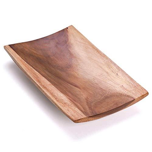 Nexos Handgemachte Holzschale große Dekoschale Obstschale Servierschale XL exklusiv echtes indonesisches Suarholz natürlich 46 x 28 cm rechteckig rar
