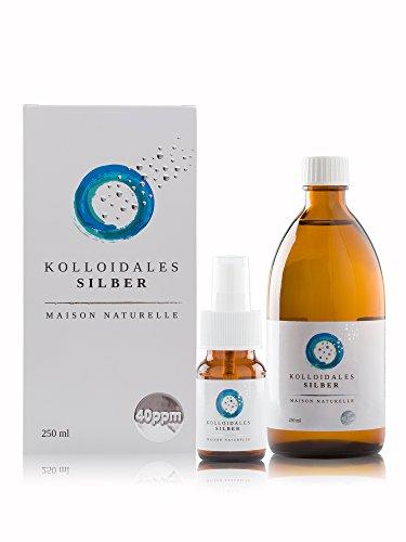 MAISON NATURELLE ® - Kolloidales Silber 40 PPM (250 ml) - Silberwasser + kostenlose 30ml Sprühflasche - Höchste Reinheitsstufe 99,9%