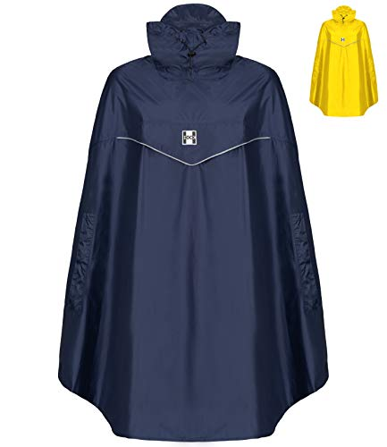 HOCK Fahrrad Regenponcho 'Rain Light' mit Kapuze und seitlicher Armöffnung - Extra Leichtes Regencape für Damen & Herren - 100,0% Wasserdichter Fahrradponcho inkl. Sturmband (blau, XL
