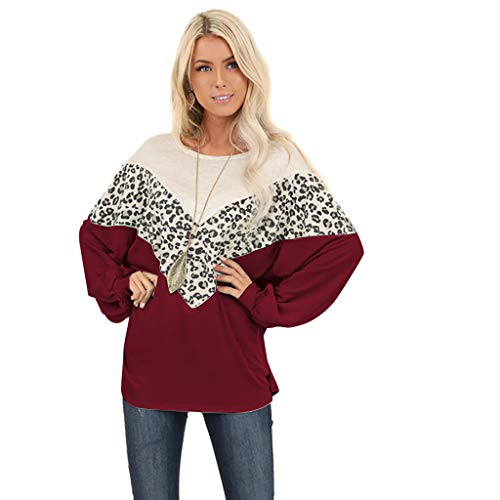 GOKOMO Fledermausärmel Pullover Damen Pullover Leopardenmuster Damen Damen Langärmeliges T-Shirt Oberteil Leopard T-Shirt Bluse Jumper(Wein-A,X-Large)