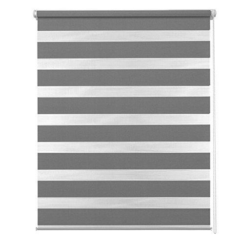 MCTECH® Doppelrollo Duo Rollo Klemmfix ohne Bohren Fenster-Rollo Springrollos mit Klemmträger (70 x 120 cm, Grau)
