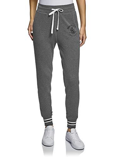 oodji Ultra Mujer Pantalones de Punto con Cordones, Gris, ES 42 / L