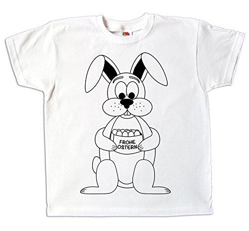 Ostern Kinder T-Shirt Osterhase zum bemalen und ausmalen mit Vordruck zum Kindergeburtstag oder als Ostergeschenk für Jungen und Mädchen (140)