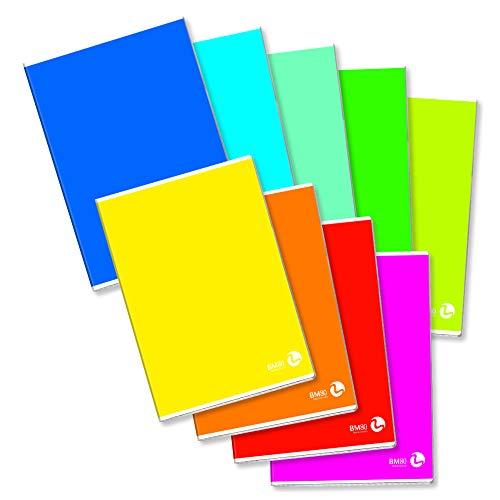 BM BeMore Color Basic 0110600, Quaderno Formato A4, Rigatura A, Righe con Margini per 1° e 2° Elementare, Carta 80g/mq, Colori Assortiti, Confezione 10 pezzi, multicolor