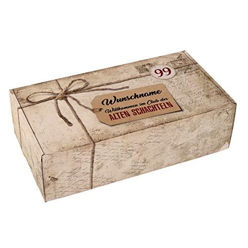 Herz & Heim® Geschenkkiste zum Geburtstag - Alte Schachtel - mit Alter und Namen bedruckt